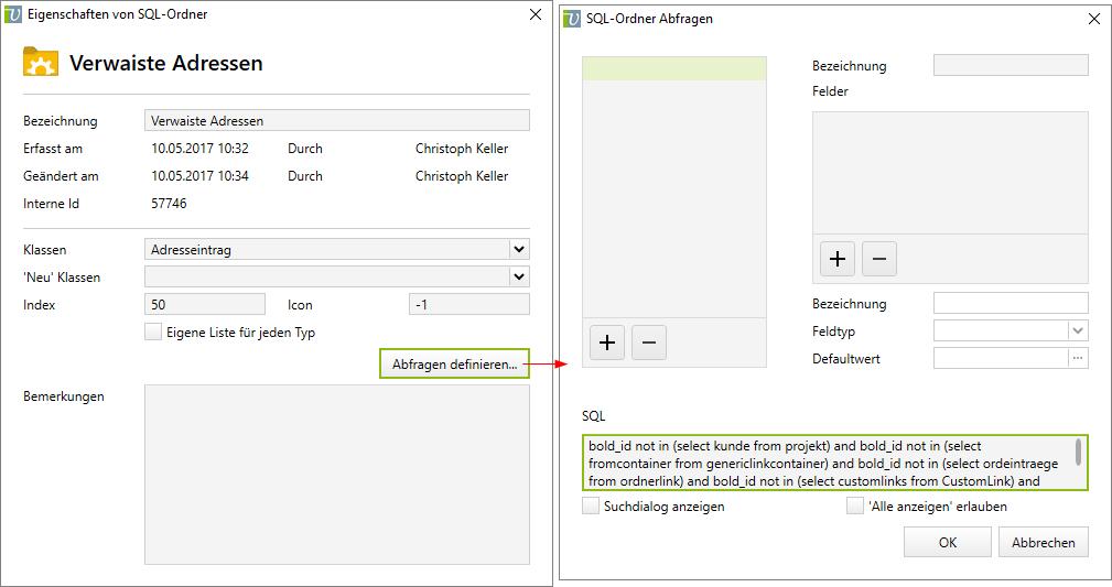 Abfrage für verwaiste Adressen mittels SQL-Suchordner