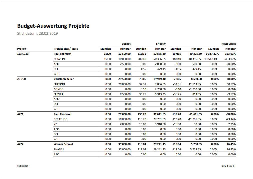 Budget Übersicht