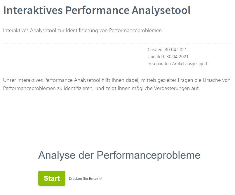 Der Startbildschirm des Vertec Performance Analysetools