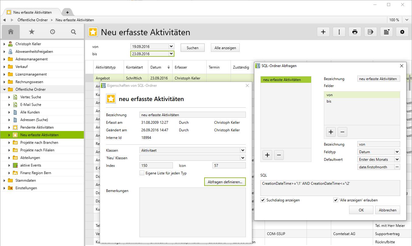 Selektion groesserer Datenmengen via SQL Ordner