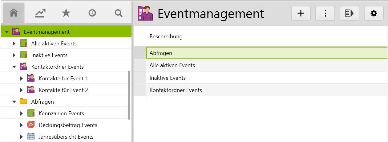Der Rootordner «Eventmanagement» und seine Unterordner