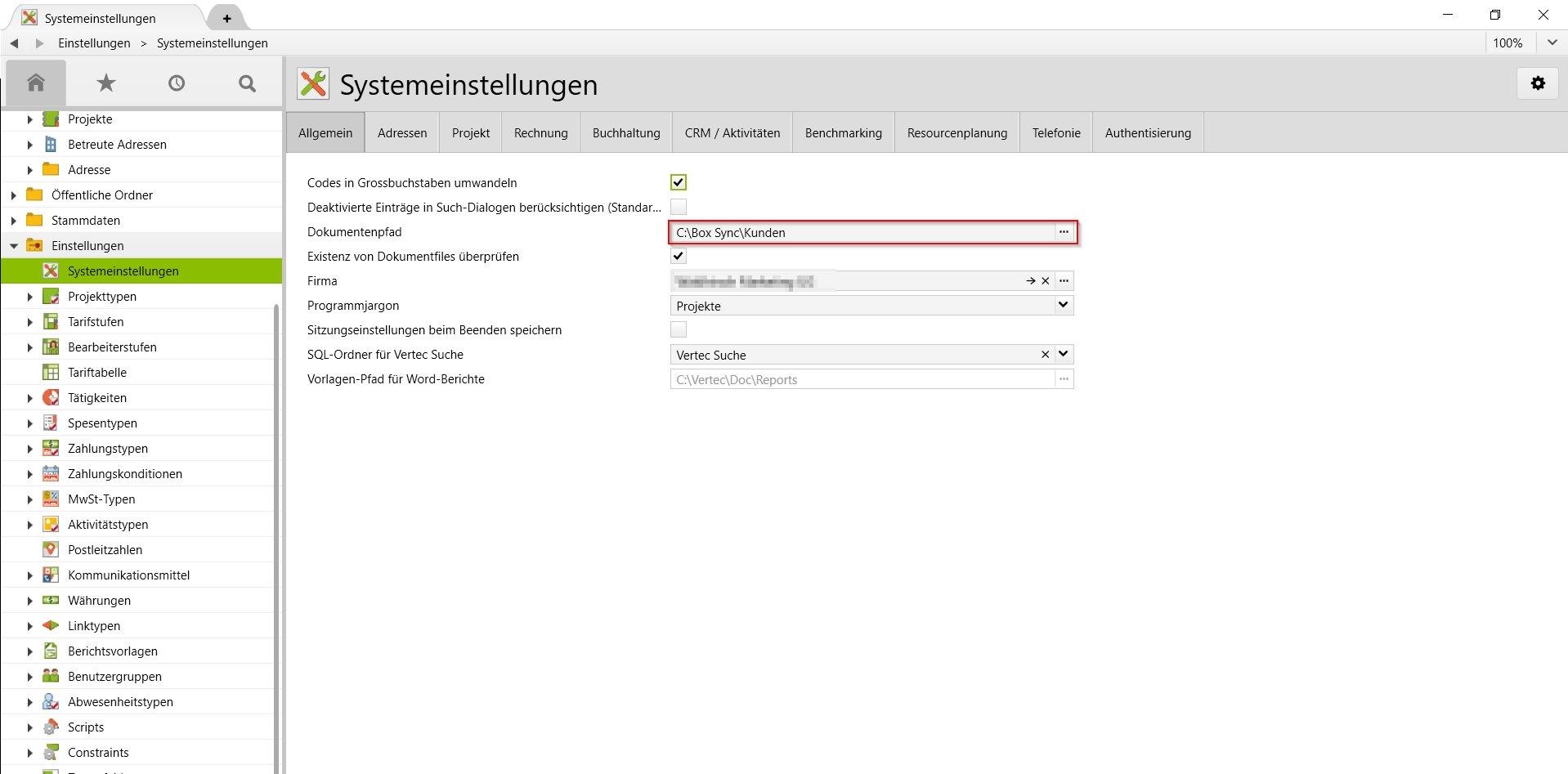 In den Systemeinstellungen kann der Dokumentenpfad von Vertec angepasst werden.