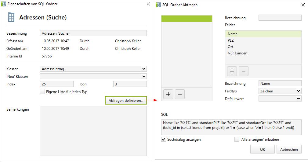 SQL-Suchordner mit diversen Parametern zur Adress-Suche