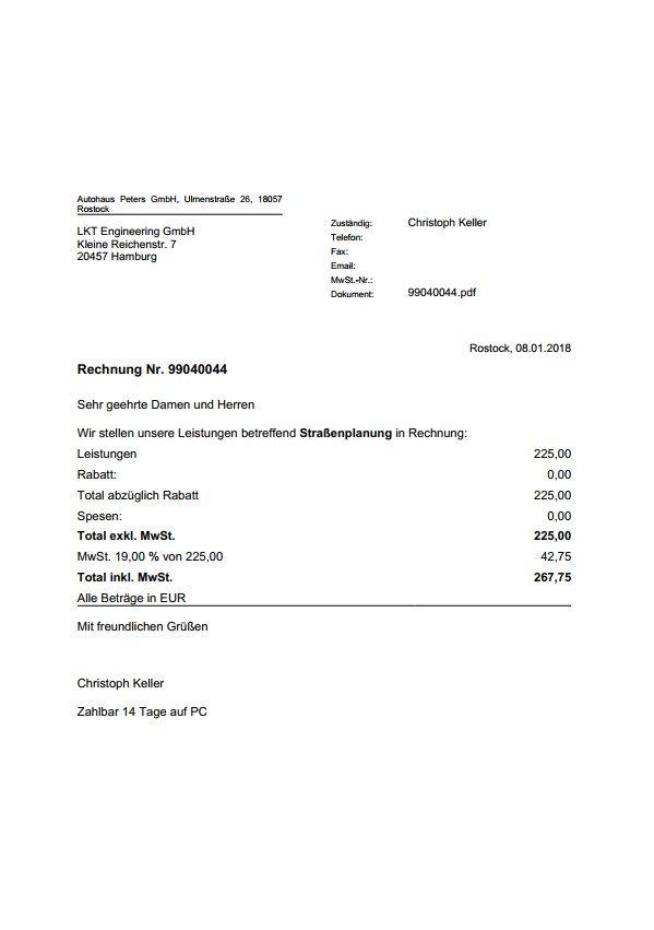 Rechnungen in Vertec PDF Rechnung
