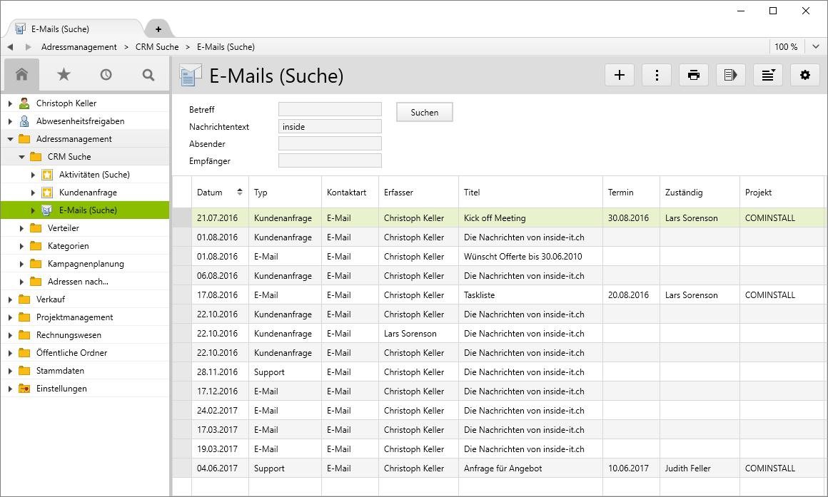 Abfrage SQL-Suchordner E-Mail (Suche)
