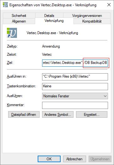 Verknüpfung Vertec mit Backup-Datenbank