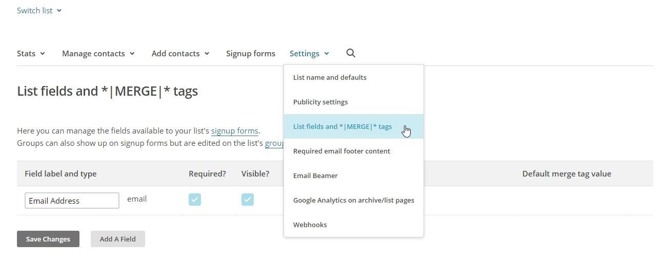 List fields Mailchimp