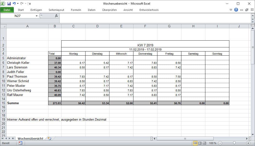 Wochenübersicht Mitarbeiter (Excel)