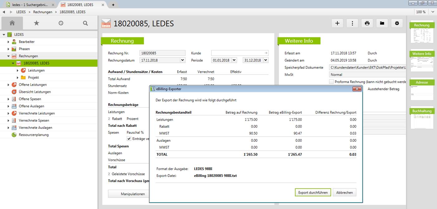 LEDES Rechnungs-Export aus Vertec