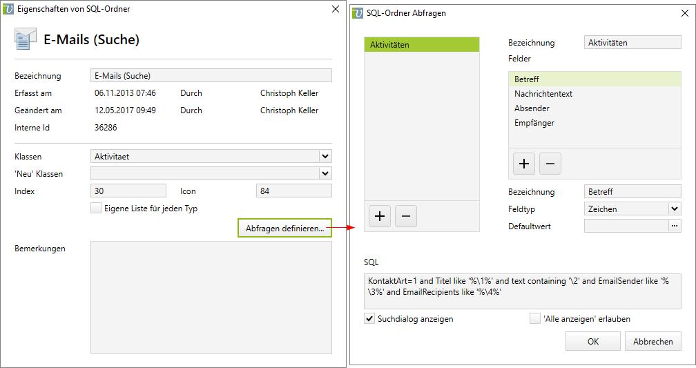 SQL-Ordner E-Mail-Suche einrichten