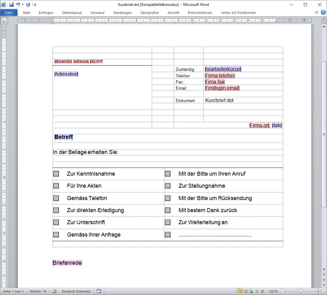 Word Vorlagen können in Vertec hinterlegt und jederzeit aus der Business Software heraus verwendet werden
