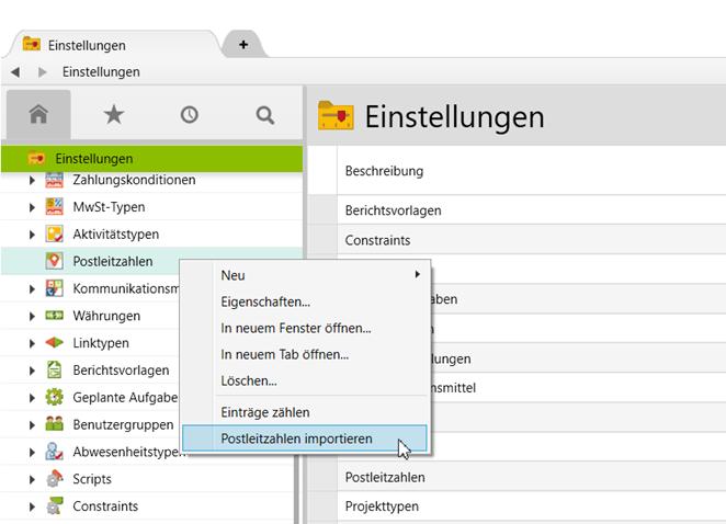 Das Dialogfeld Postleitzahlen importieren im Ordner Einstellungen