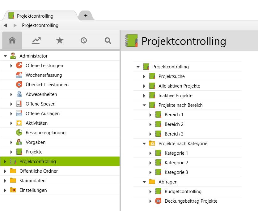 Der Rootordner «Projektcontrolling» und seine Unterordner