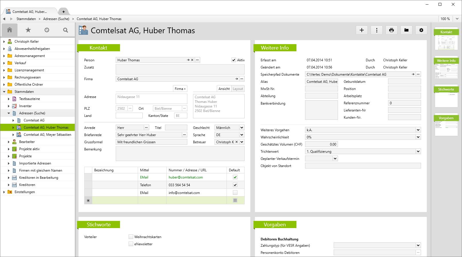 Mit Hilfe der Stammdaten lässt sich die Vertec Software individuell anpassen