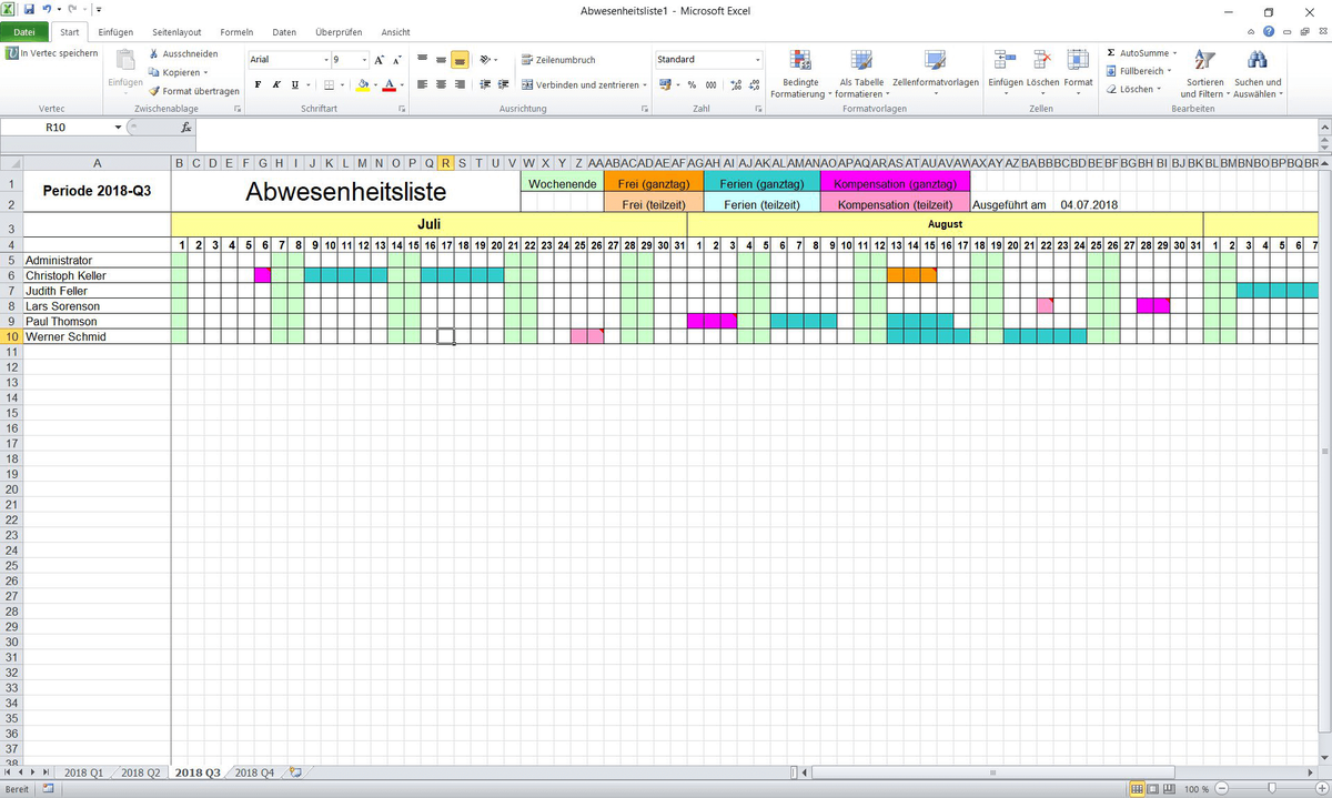 Übersichtsliste in Excel aller Abwesenheiten.