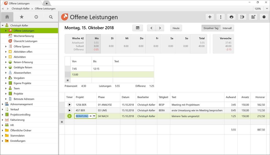 Einfache Zeiterfassung: Zeiten können in Vertec direkt per Timer oder manuellen Eintrag auf Kundenprojekten erfasst werden.