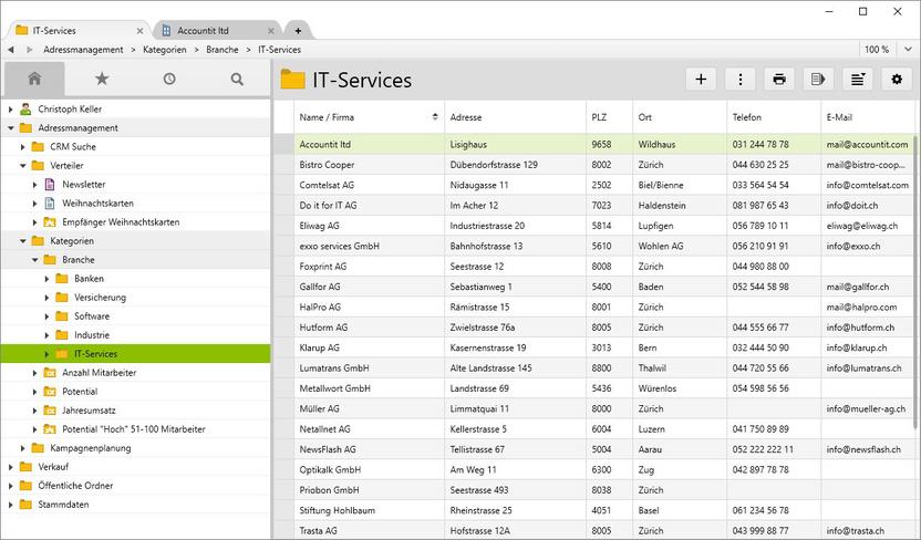 Alle Kundenkontakte IT-Services segmentiert, z.B. für eine E-Mail Kampagne.