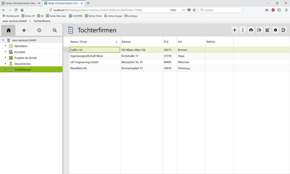 Container-Ansicht der Mutterfirma exxo services GmbH mit den zugehörigen Tochterfirmen.