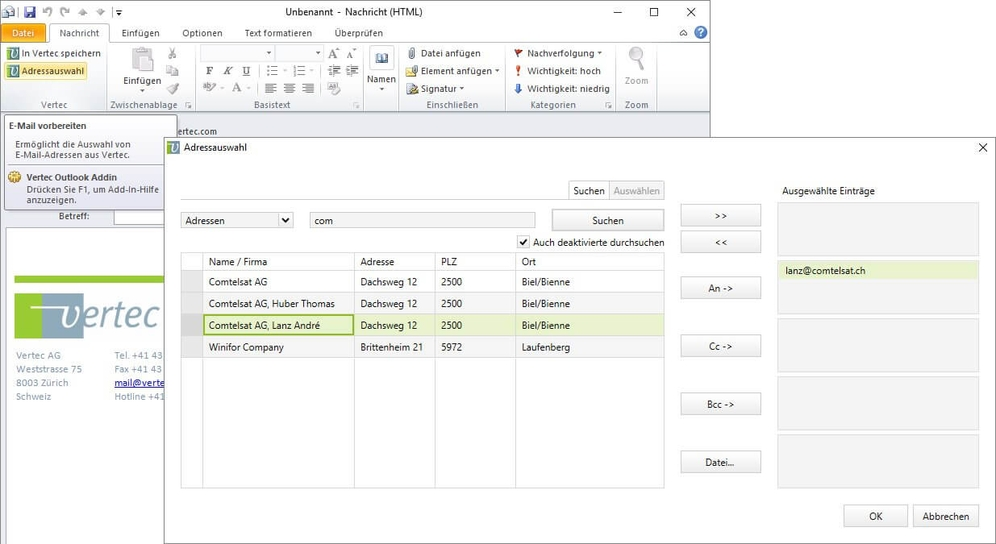 Weisen Sie E-Mails direkt einem Projekt oder Bearbeiter in Vertec zu.