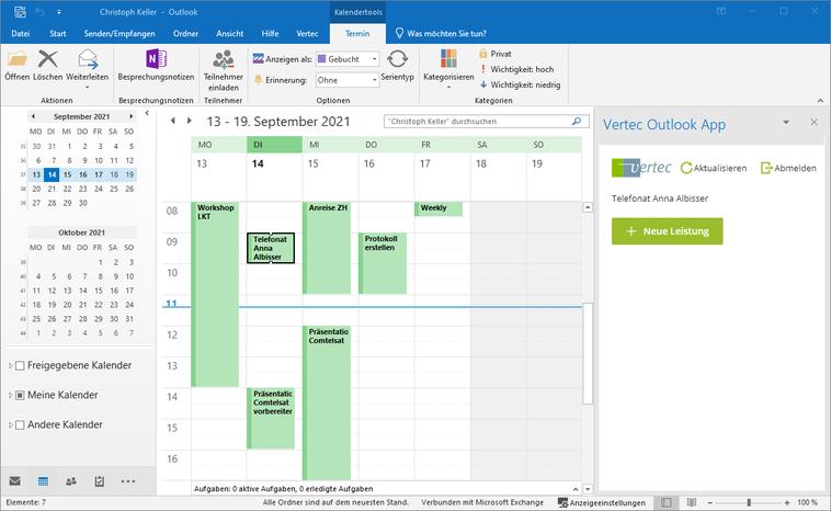 Die Outlook App erkennt das Erstellen oder Anklicken eines Termines