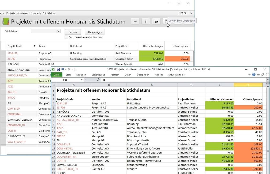 Export einer Liste aus Vertec in Excel.