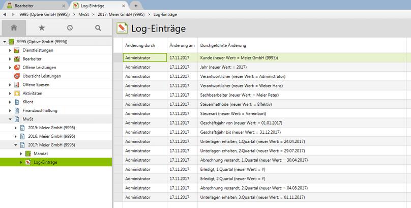 Log-Einträge auf einem Mandat schaffen Nachvollziehbarkeit und Transparenz im Mandatsmanagement.