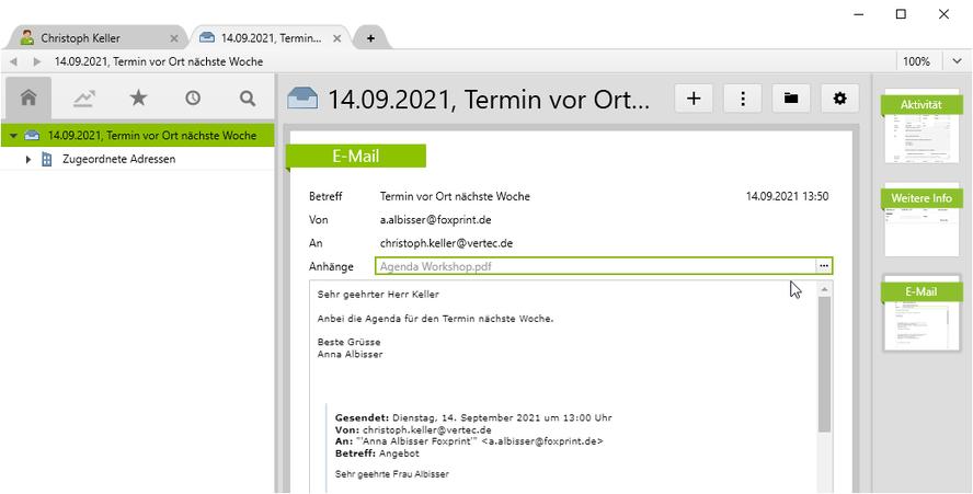 Die Ansicht eines E-Mails mit Anhang im Vertec. Der Anhang lässt sich von dort aus direkt öffnen.