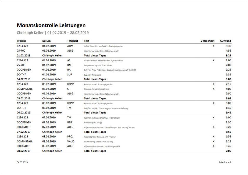 Monatskontrolle aller Leistungen eines Mitarbeiters als Vertec-Report.
