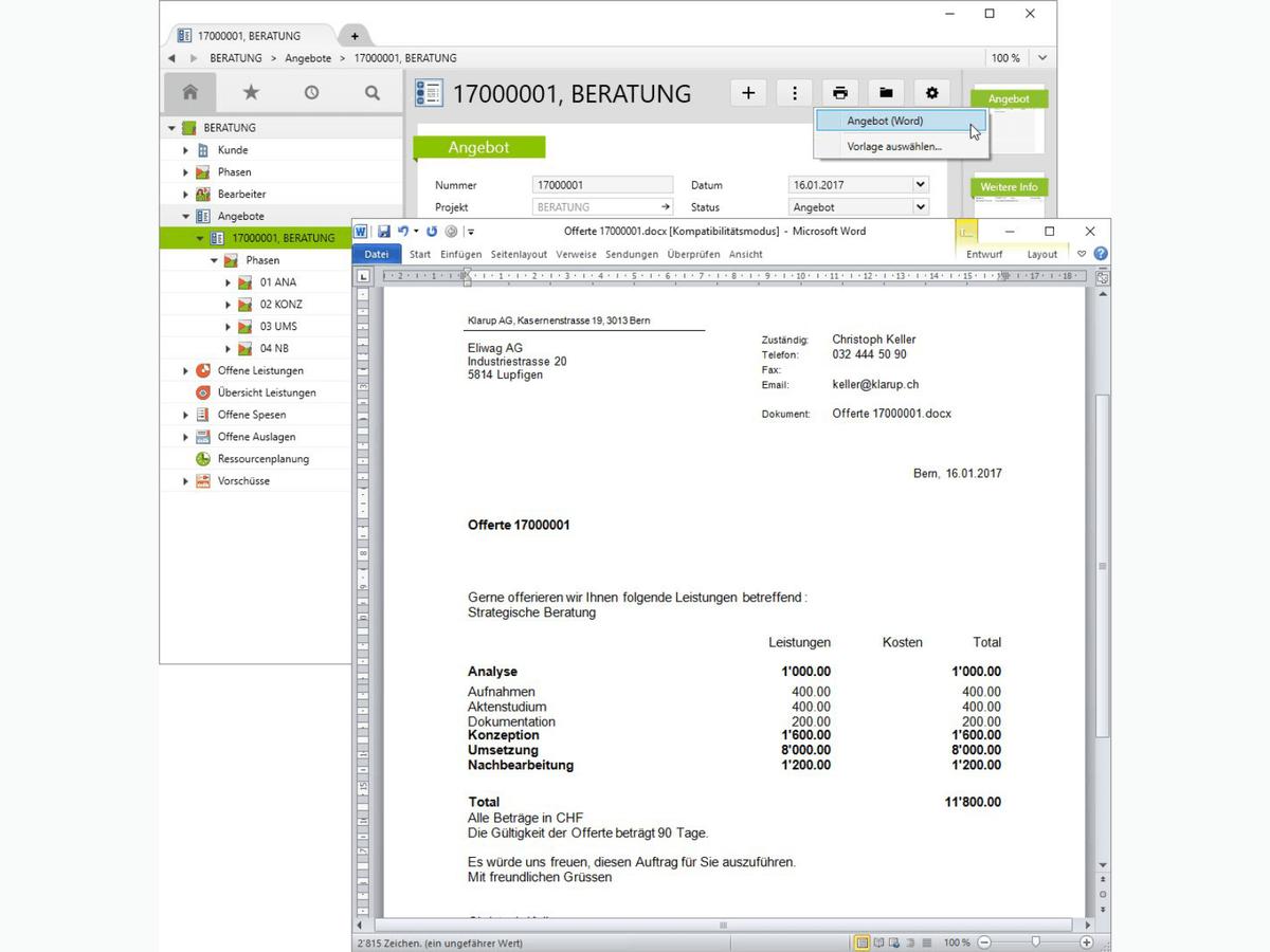 Vertec-Report für ein Angebot in Word erstellen.