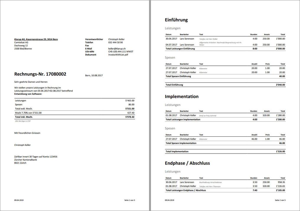Erstellung einer Vertec-Rechnung als Report.
