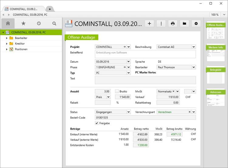 Fremdrechnung der Firma Comtelsat AG für das Projekt Cominstall.