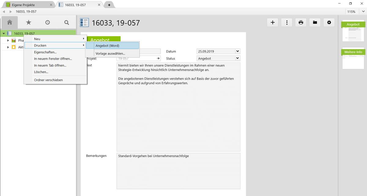 Erstellung eines Angebots als Word-Datei aus Vertec heraus.