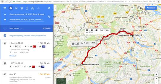 Die Route wird in Google Maps angezeigt