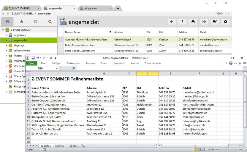 Excel-Export der Teilnehmerliste eines Events aus Vertec.