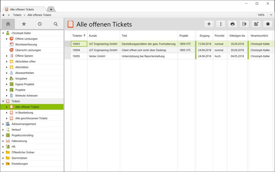 Offene Supporttickets mit Eingangs- und Fälligkeitsdatum in Vertec.