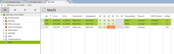 Mandatsmanagement mit Jahresübersicht und gewählter Steuermethode in der Treuhand Software von Vertec.