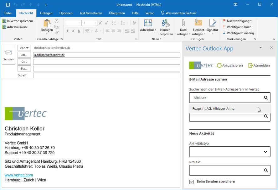 Neues E-Mail schreiben, die Adresse wird aus Vertec gezogen.