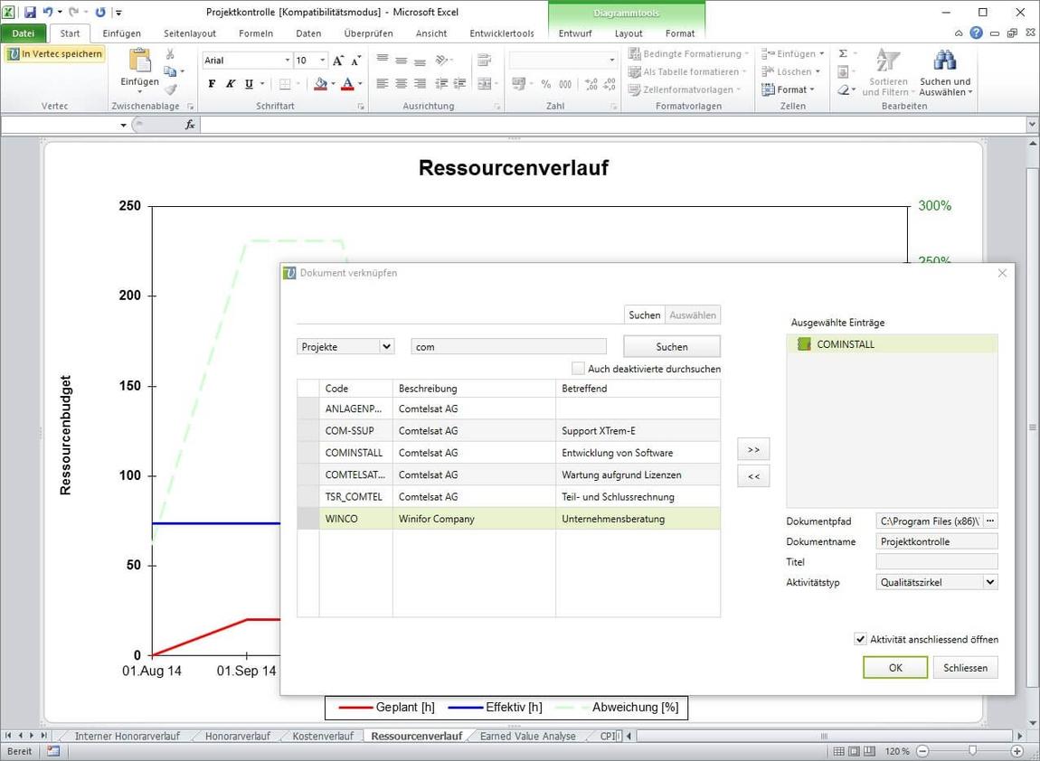 Exportieren Sie Ihre Daten von Vertec zu Excel oder Word.