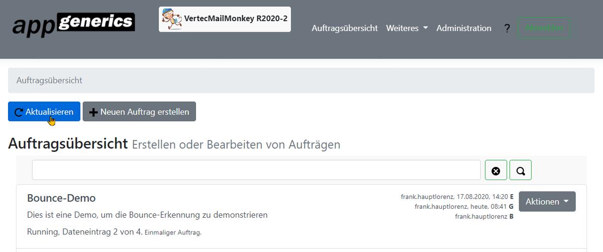 Ausführung eines Auftrags im Vertec Mail Monkey.