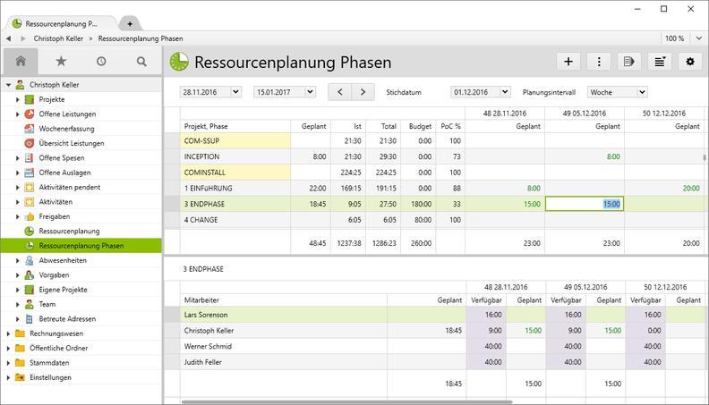 """Die Ressourcenplanung kann auch auf der Ebene """"Projektphase"""" erfolgen."""
