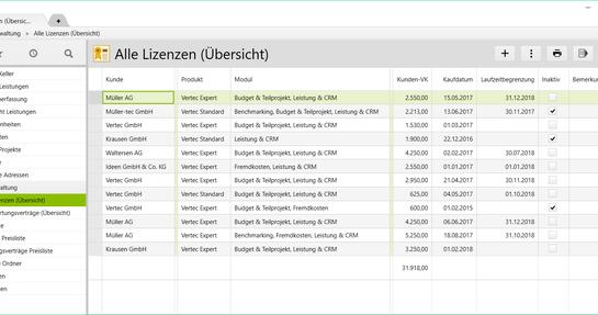 Lizenzmanagement in Vertec