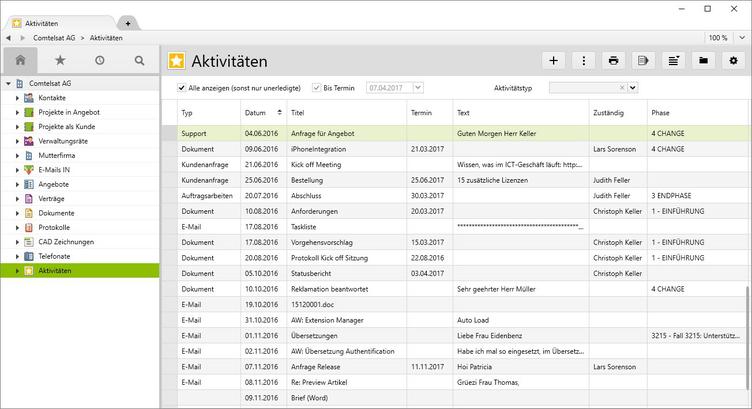 "Die Kundenhistorie des Kunden ""Comtelsat AG"" in Vertec."