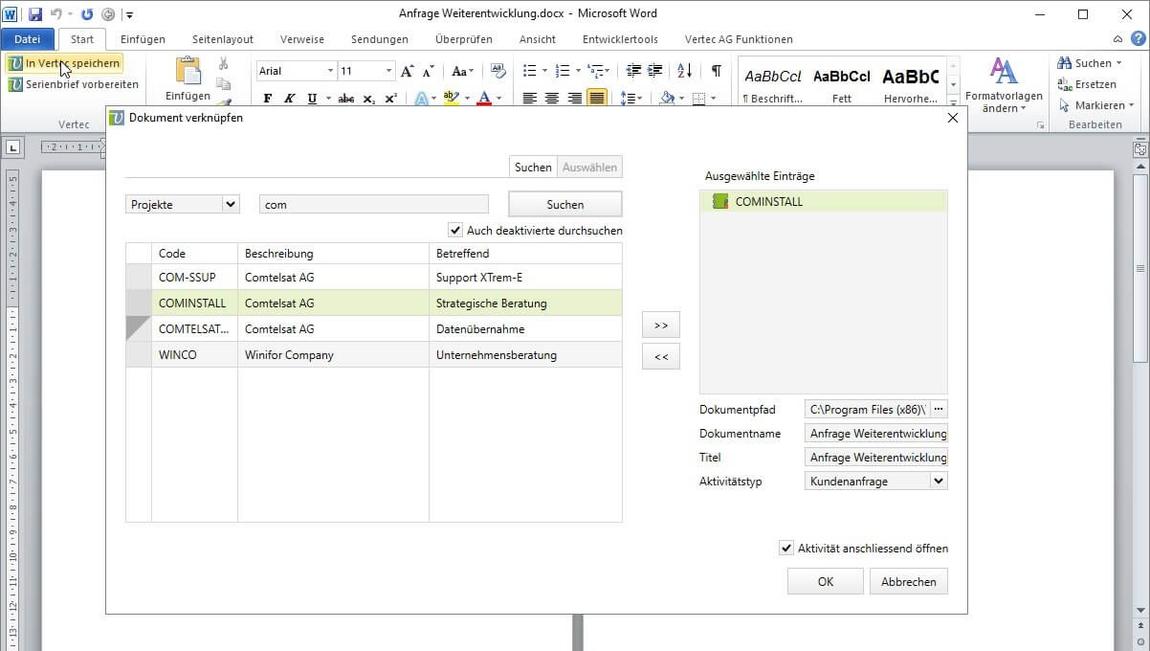 Verknüpfen Sie MS Office Dokumente einfach mit Vertec.