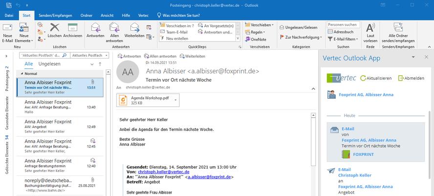Anhänge in E-Mails werden in Vertec direkt mitgespeichert
