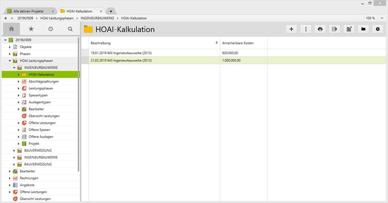 Darstellung von zwei HOAI-Kalkulationen mit anrechenbaren Kosten.