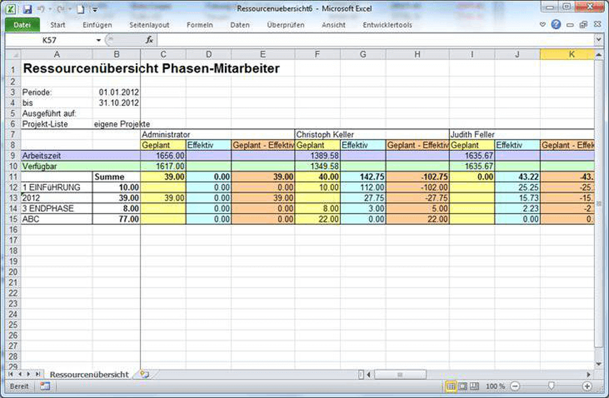 Ausgabe der verfügbaren Stunden als Excel-Bericht aus Vertec (Option 3).