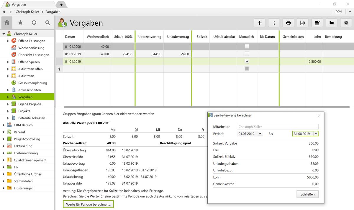 In Vertec können Sie pro Mitarbeiter Sollzeiten und weitere Daten vorgeben.