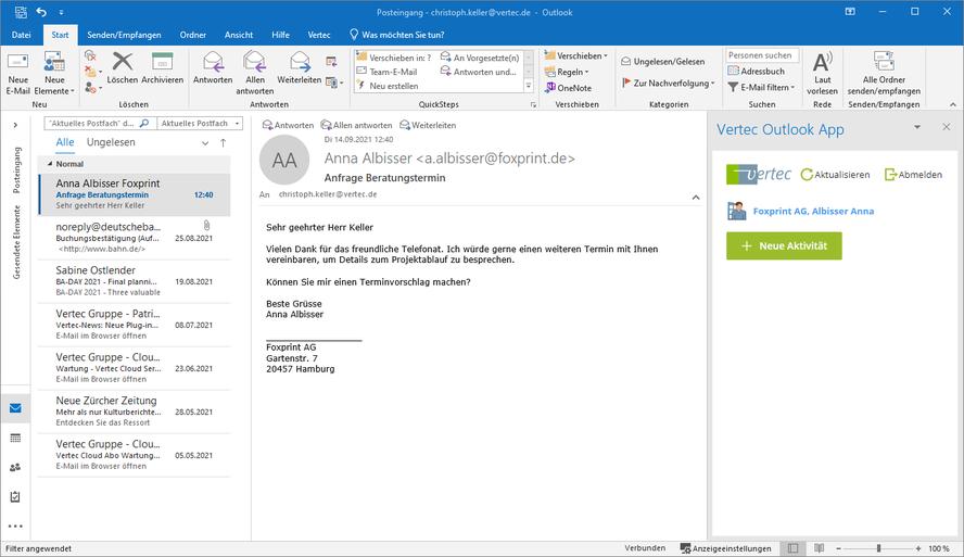 Ein E-Mail als neue Aktivität erfassen.