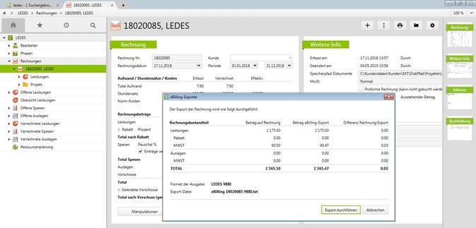 LEDES Rechnungs-Export aus Vertec: Rundungsdifferenzen werden explizit ausgewiesen.