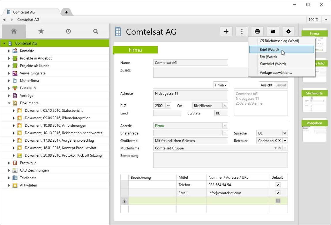 Bilden Sie Ihre Kundenkorrespondenz bequem mit Hilfe der MS-Office Integration in Vertec ab.